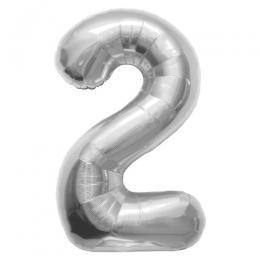 プレミアムレターバルーン シルバー数字「2」