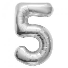 プレミアムレターバルーン シルバー数字「5」