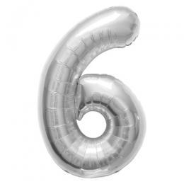 プレミアムレターバルーン シルバー数字「6」