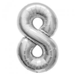 プレミアムレターバルーン シルバー数字「8」