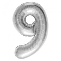 プレミアムレターバルーン シルバー数字「9」