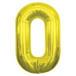 プレミアムレターバルーン ゴールド数字「0」