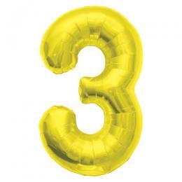 プレミアムレターバルーン ゴールド数字「3」