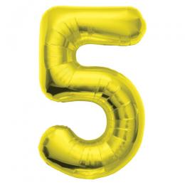 プレミアムレターバルーン ゴールド数字「5」