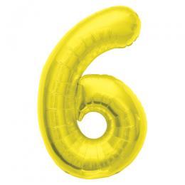 プレミアムレターバルーン ゴールド数字「6」